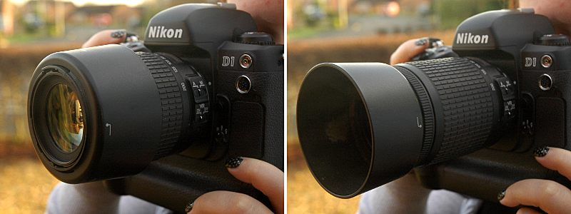 Hood for the Nikon 55-200mm VR shown attached and reversed (left) & Nikon 55-200mm VR review on LEWIS COLLARD DOT COM